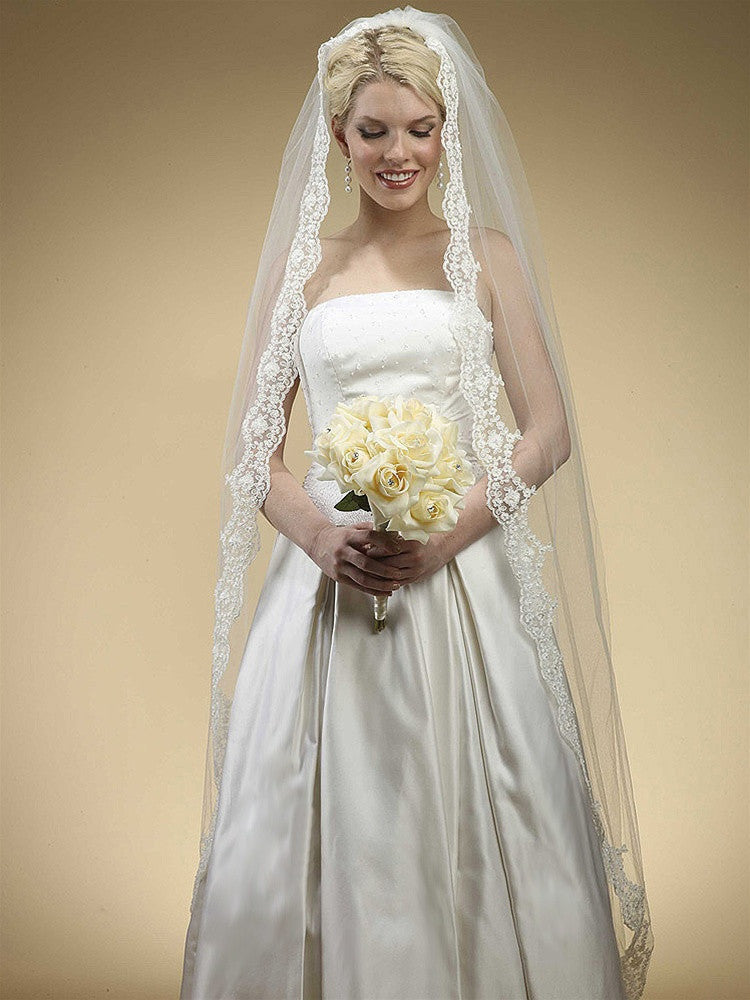 Floor Length Bridal Mantilla Veil with Lace 3325V