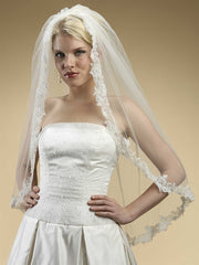 Alencon Lace Embroidered Mantilla Wedding Veil 3331V