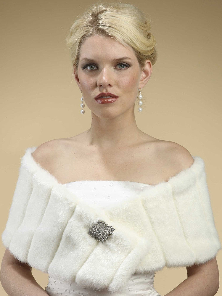 Pelted Faux Fur Wrap - Ivory 3356W-I