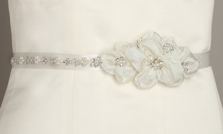 Pearl and Crystal Flower Cluster Bridal Sash - 3388BT