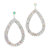 Iridescent Rhinestone Pearshape Hoop Earrings 3430E