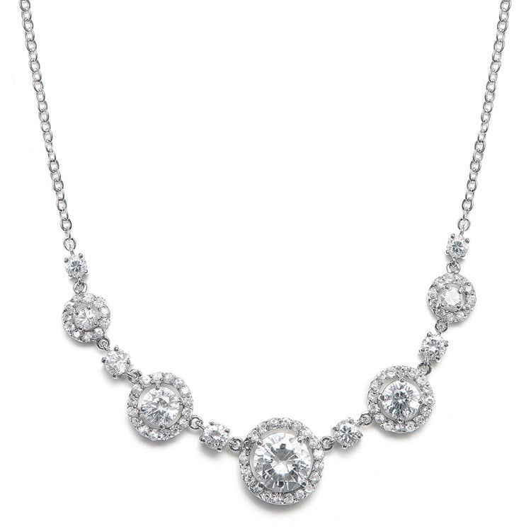 CZ Circles Bridal Necklace 347N