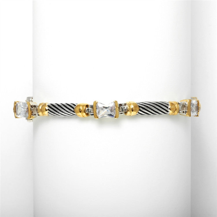 THIS PRICE IS NOT A TYPO! Designer 2-Tone Rope Bracelet with CZ 3511B