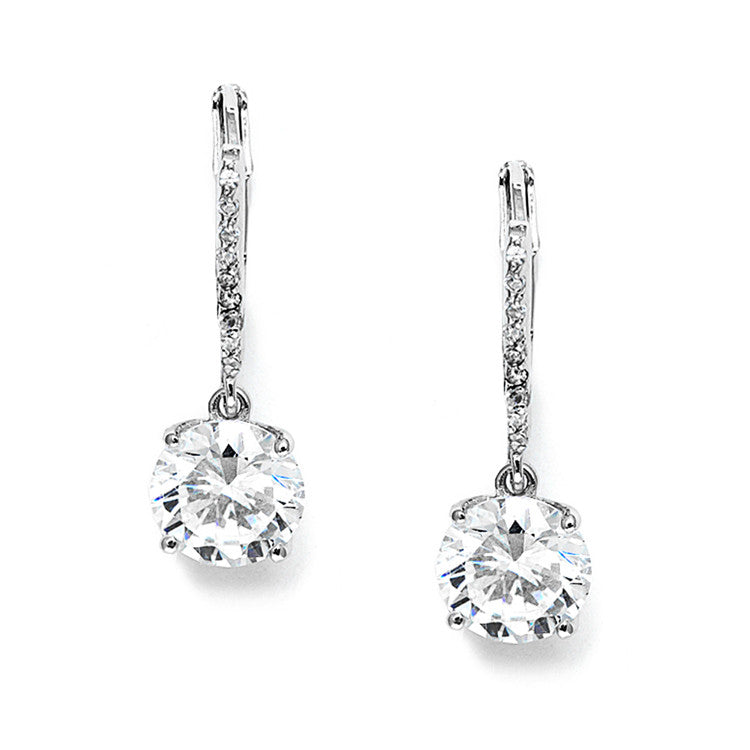 2 Ct. Cubic Zirconia Bridal or Bridesmaids Drop Earrings 3516E