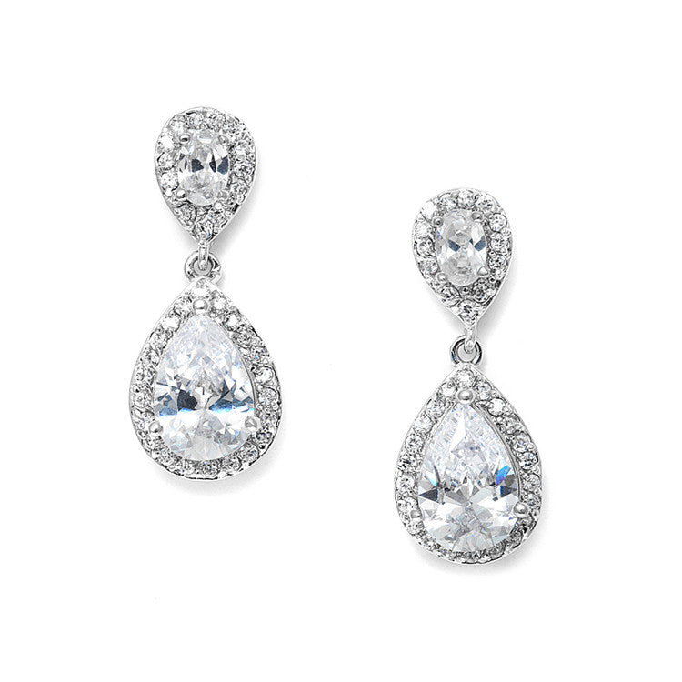 Lustrous Cubic Zirconia Teardrop Wedding Earrings 3520E