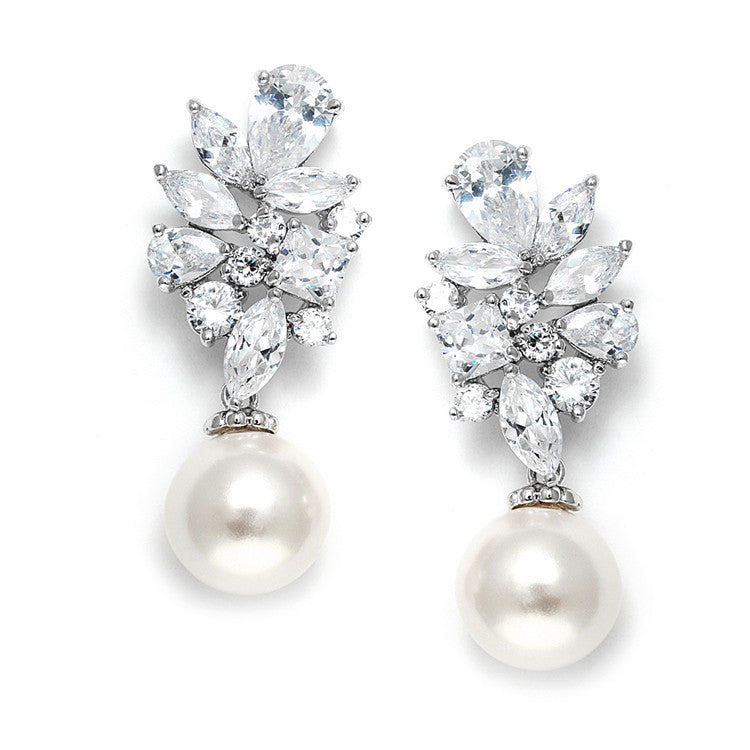 Dazzling CZ Cluster Wedding Earrings with Pearl drop 3530E