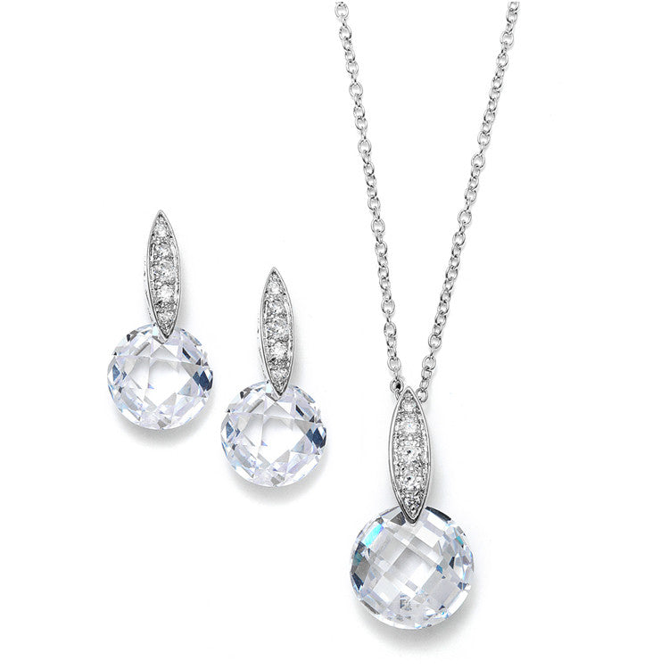 Faceted Crystal Drop Necklace and Earrings Set with Cubic Zirconia 3531S