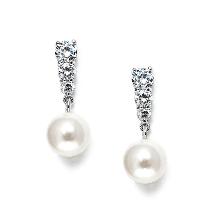 Graduated CZ Wedding Earrings with Pearl Drop 3532E