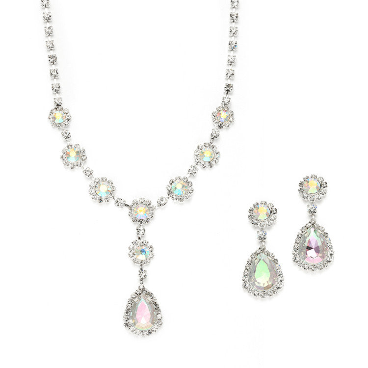 Iridescent Rhinestone Prom or Bridesmaid Necklace & Earrings Set 3555S-AB