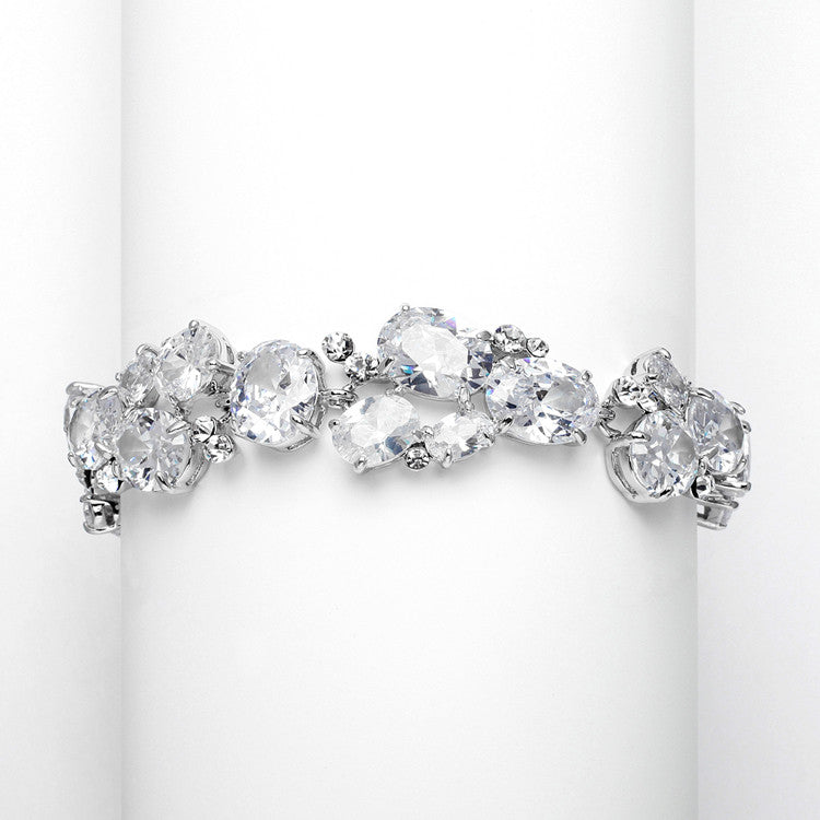 Exquisite Bridal or Evening Bracelet with Multi Cubic Zirconia Shapes 3562B