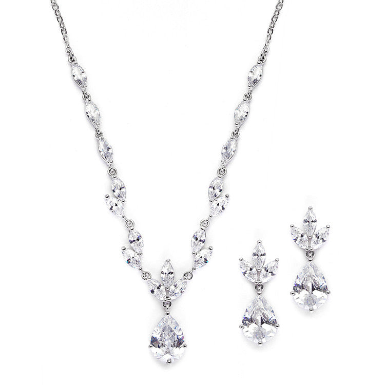 Cubic Zirconia Bridal Neck Set with Pears & Marquise 3565S