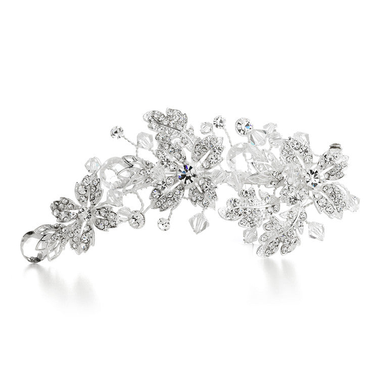 Crystal Spray Bridal Hair Clip with Faceted Teardrops 3576HC