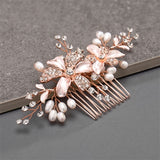 Brushed Rose Gold ,  Ivory  Floral Wedding Comb with Freshwater Pearls & Crystals