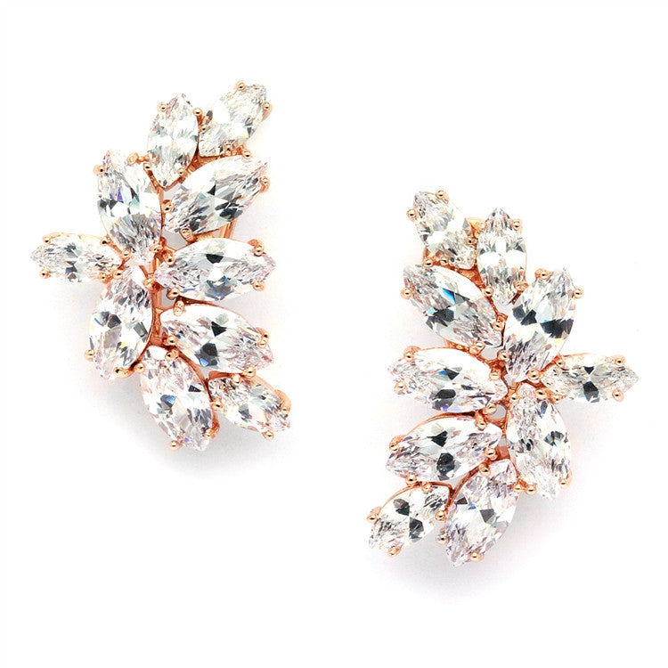 Shimmering Cubic Zirconia Marquis Cluster Rose Gold Clip-On Earrings 3598EC-RG