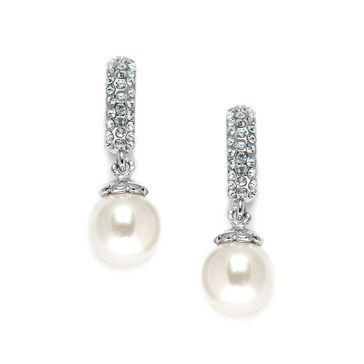 Clip On Pearl Wedding Earrings with Inlaid Cubic Zirconia 3626EC