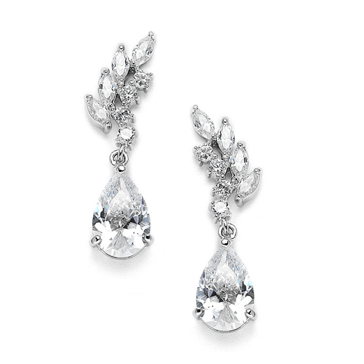 Cubic Zirconia Bridal or Bridesmaids Earrings with Baby Leaves & Teardrops 3634E