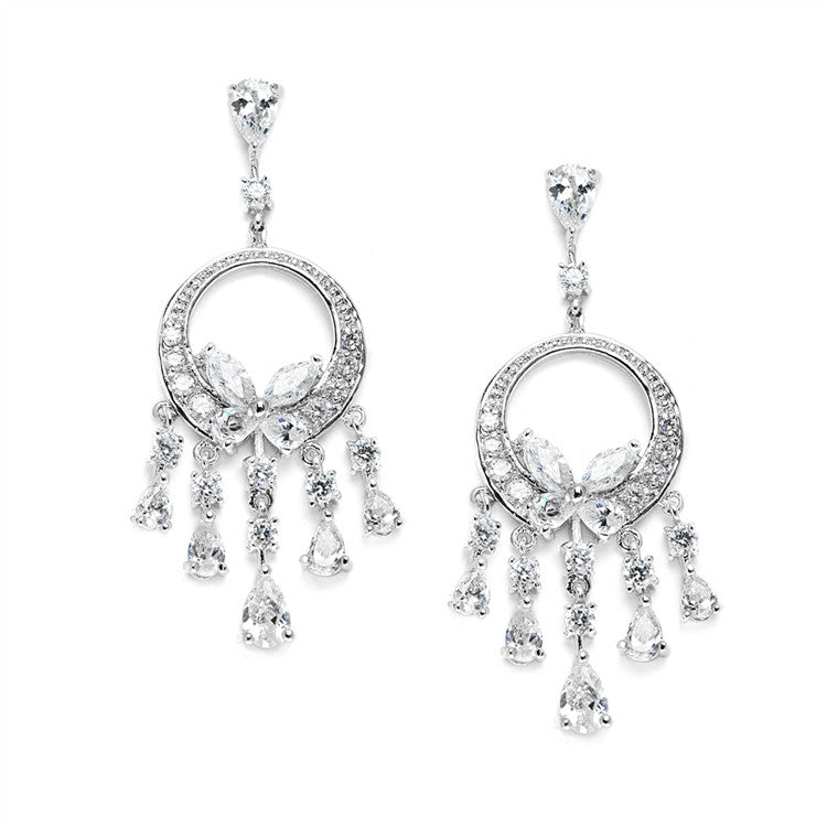 Dainty Cubic Zirconia Chandelier Earrings 3635E