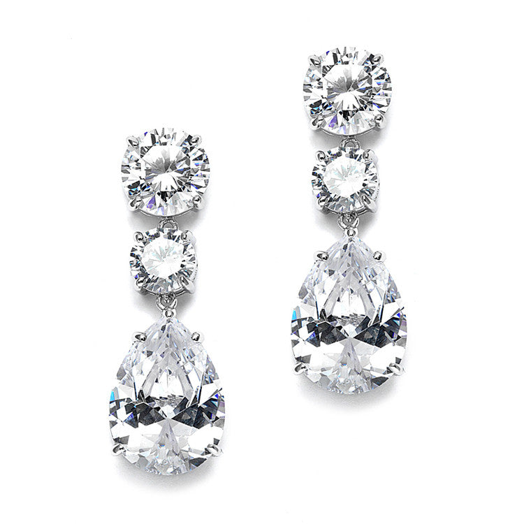 Bold Shape Cubic Zirconia Wedding or Party Earrings 3655E