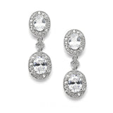 Vintage Cubic Zirconia Bridal or Bridesmaids Earrings 3658E