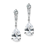 Cubic Zirconia Pears Dangle Earrings with Graduated Top 3677E