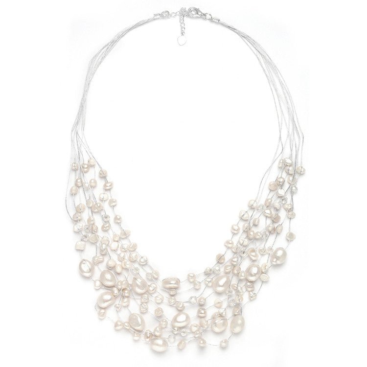 Genuine Freshwater Pearls & Crystals Beach Wedding Necklace 3685N