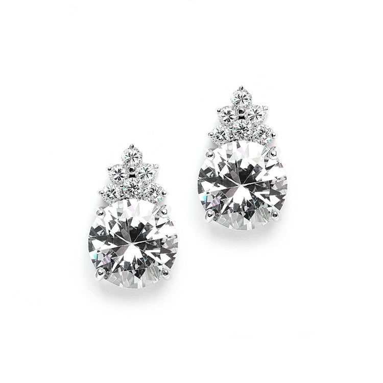 Bold Round CZ Bridal or Bridesmaid Earrings with CZ Accents 3691E