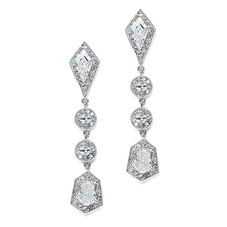 Empress & Noble Cut Cubic Zirconia Bridal Earrings 3696E
