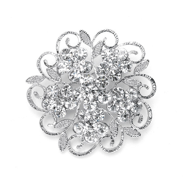 Filigree Crystal Flower Wedding or Prom Pin 3726P
