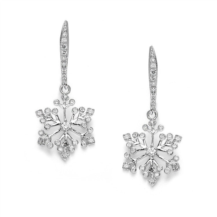 Winter Wedding Cubic Zirconia Snowflake Earrings 3758E
