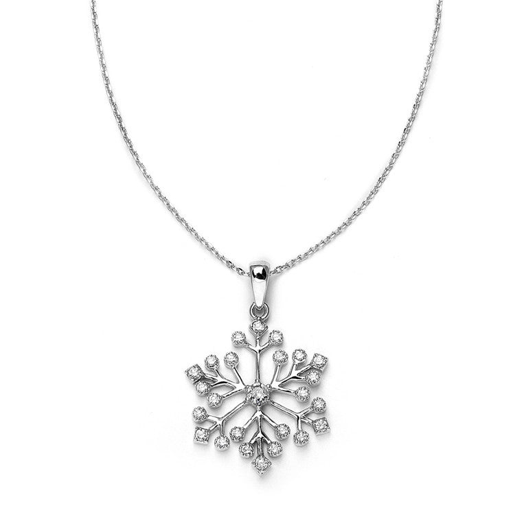 Winter Wedding Cubic Zirconia Snowflake Necklace Pendant 3758N