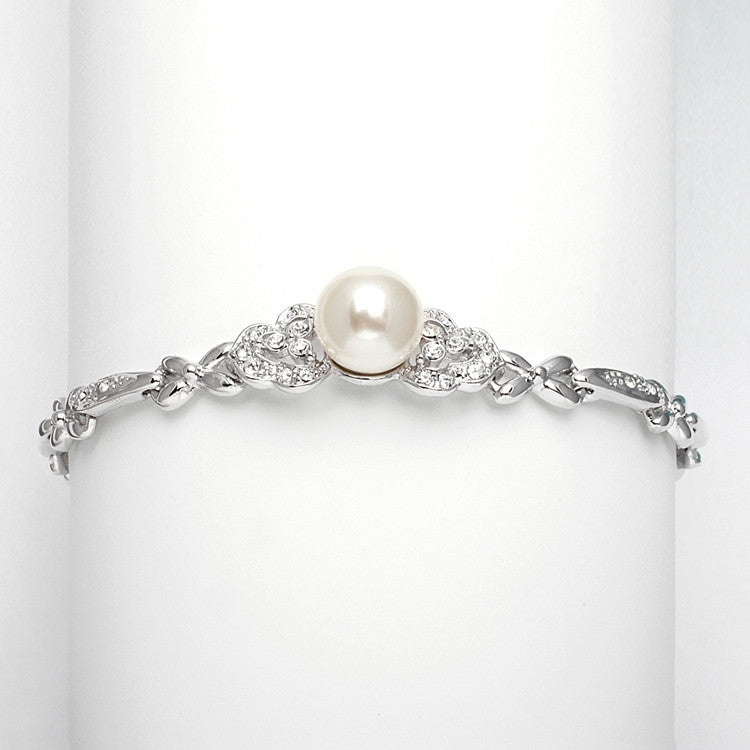 Sleek Designer Pearl & Cubic Zirconia Wedding Bracelet 3827B