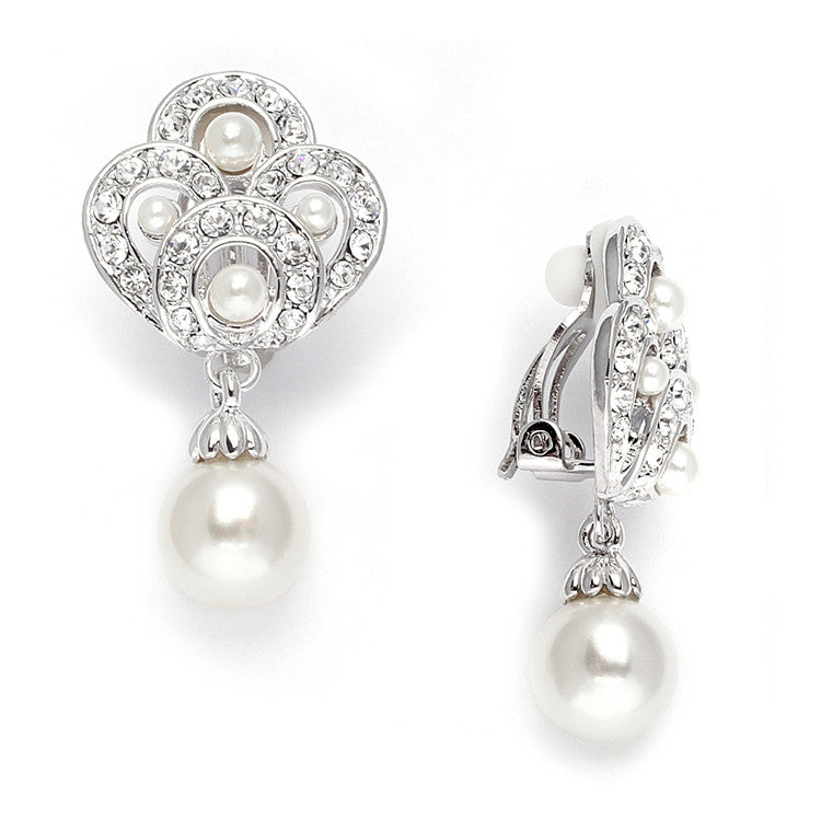 Art Deco Cubic Zirconia &  Pearl Drop Wedding Earrings 3830E