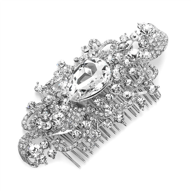 Regal Vintage Bridal Comb with Bold Crystal Center 3875HC