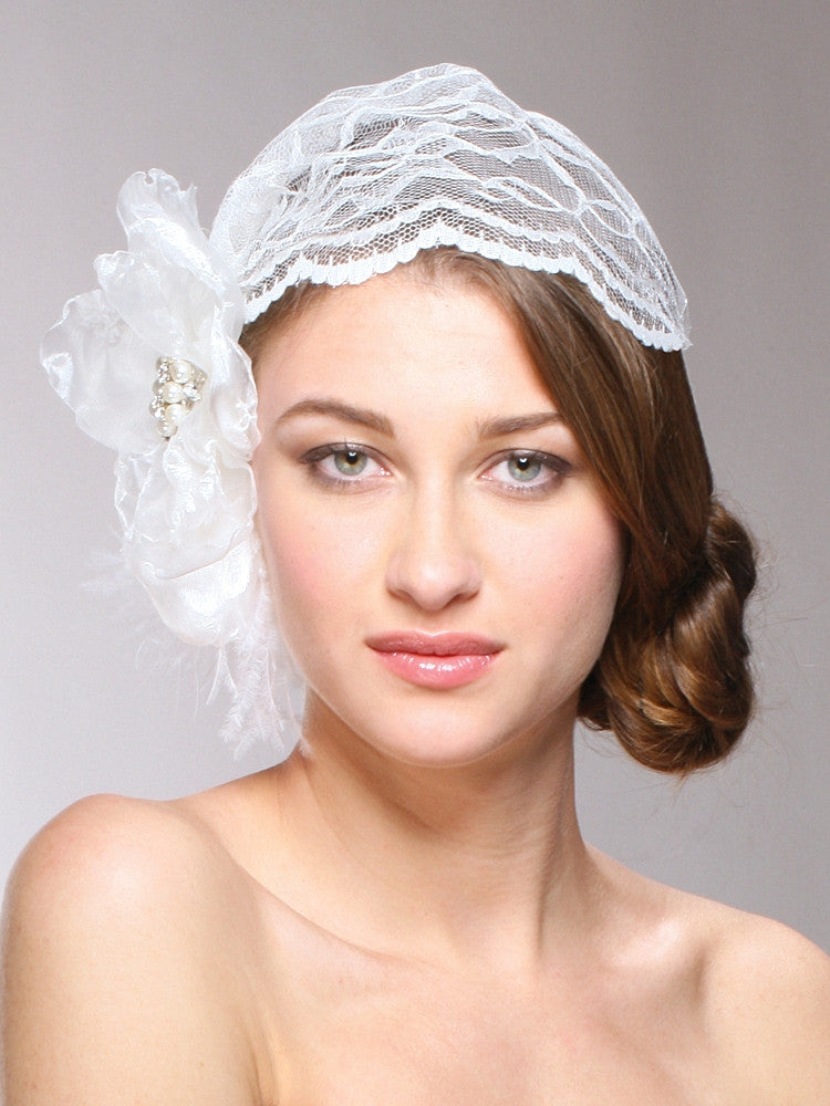 Juliet Bridal Cap with Lace, Organza Flower & Feather Hair Clip 3902V