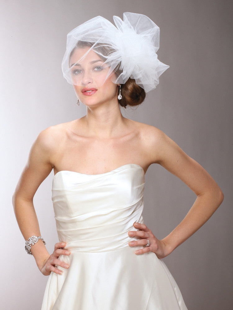Chic Designer Bouffant-Style Side Veil in Four Colors 3905V