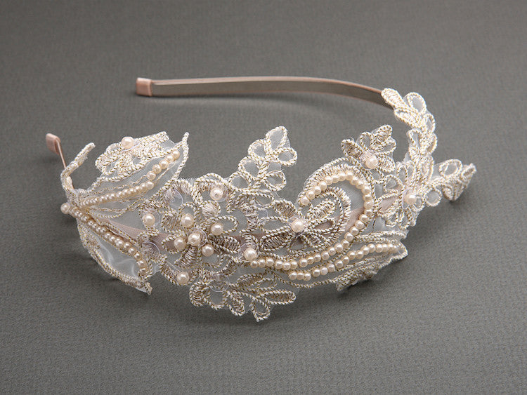 Lace Headband with Pearls & Sequins 3909HB