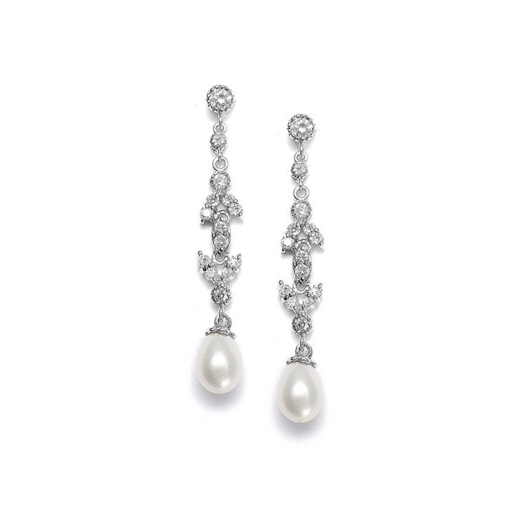 Linear Freshwater Pearl Vintage Bridal Earrings 393E