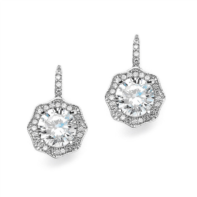 3 Ct Cubic Zirconia Vintage Hexagon Drop Earrings 3985E