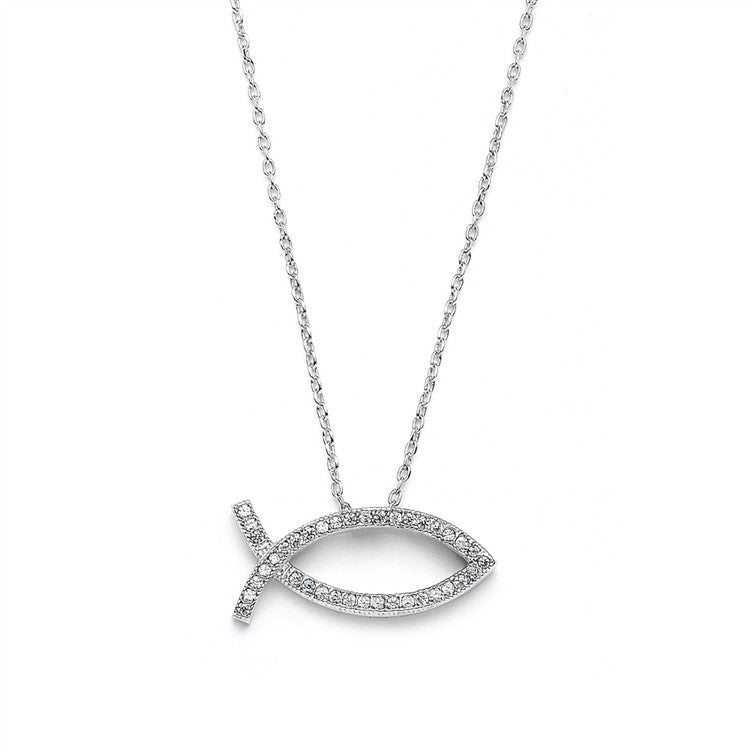 Christian Fish Faith Necklace in Cubic Zirconia & Rhodium 3988N