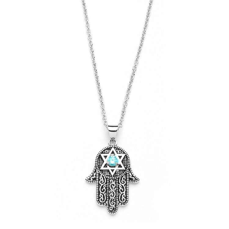 Hand of God Pendant with Aquamarine CZ and Star of David