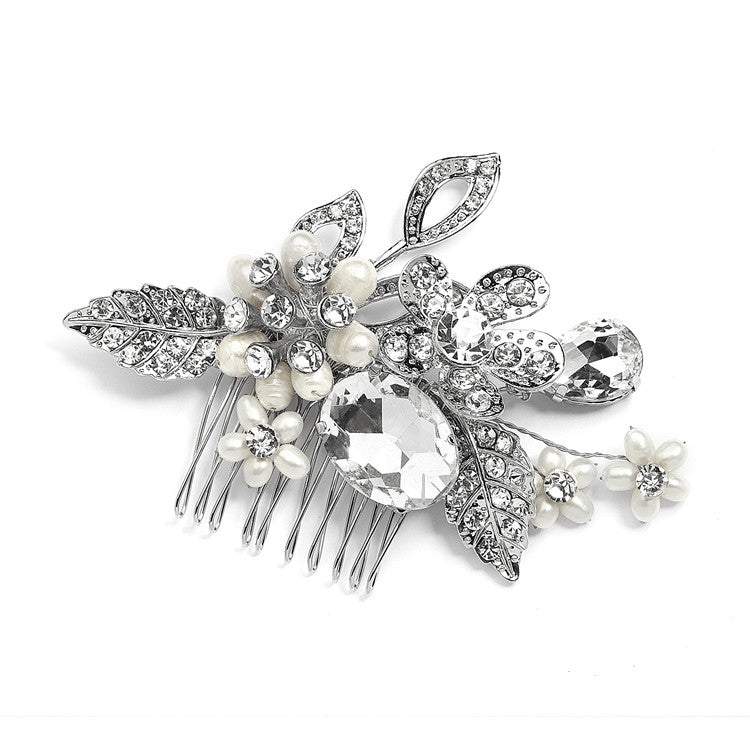 Vintage Statement Bridal Comb in Antique Rhodium with Bold Oval Crystal and Freshwater Pearls 4002HC