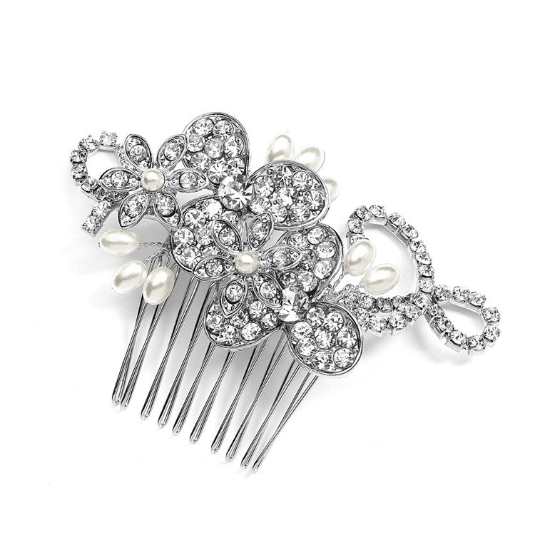 Antique Floral Bridal Comb with Freshwater Pearl Sprays & Graceful Rhinestone Vines 4004HC