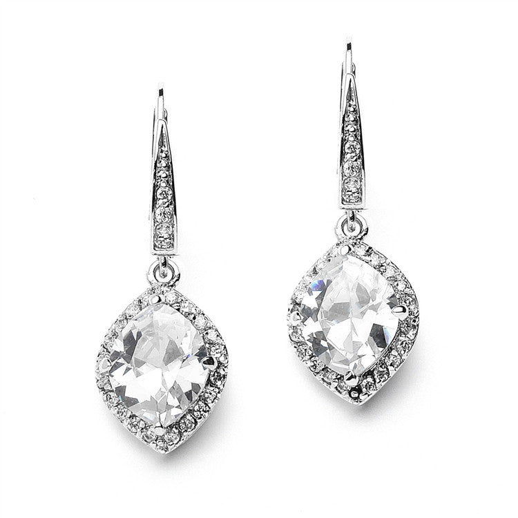 Best-Selling Marquise Cubic Zirconia Drop Wedding Earrings with Vintage Euro Wire Top 4007E