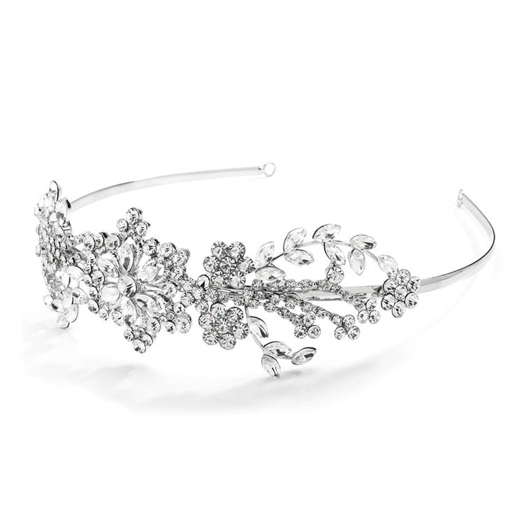 Popular Crystal Wedding Headband or Tiara with Vintage Art Deco Floral Design 4008HB