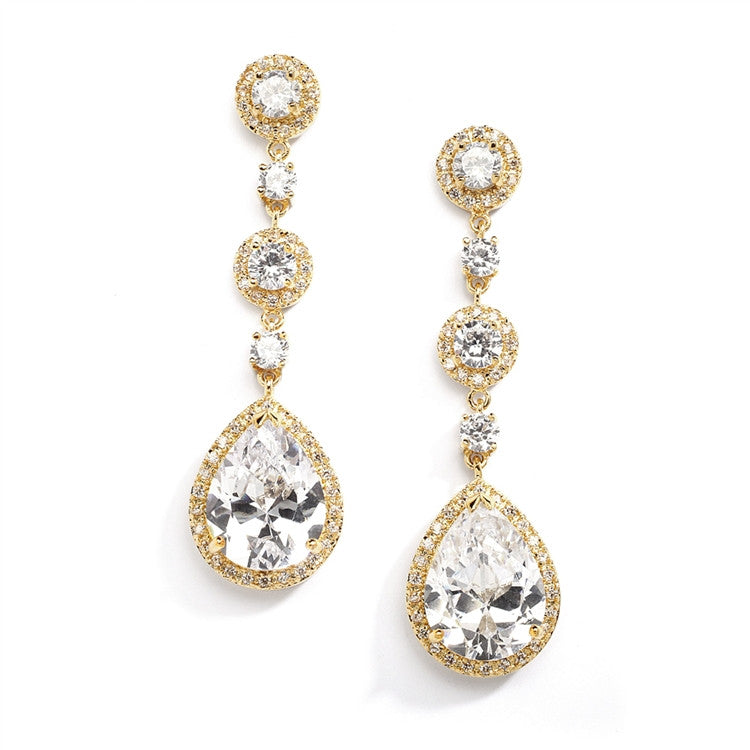 Best-Selling Pear-shaped Drop Bridal Earrings with Pave CZ - Clip 400EC
