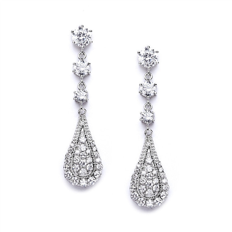 Cubic Zirconia Prom or Wedding Dangle Earrings 4019E