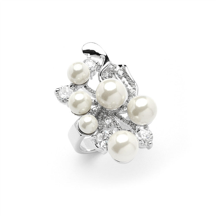 Bold Cubic Zirconia Wedding Cocktail Ring with Light Ivory Pearl Bubbles 4031R