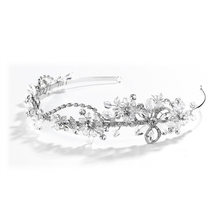 Crystal & Rhinestone Garden Wedding Tiara or Side Design Headband 4039HB
