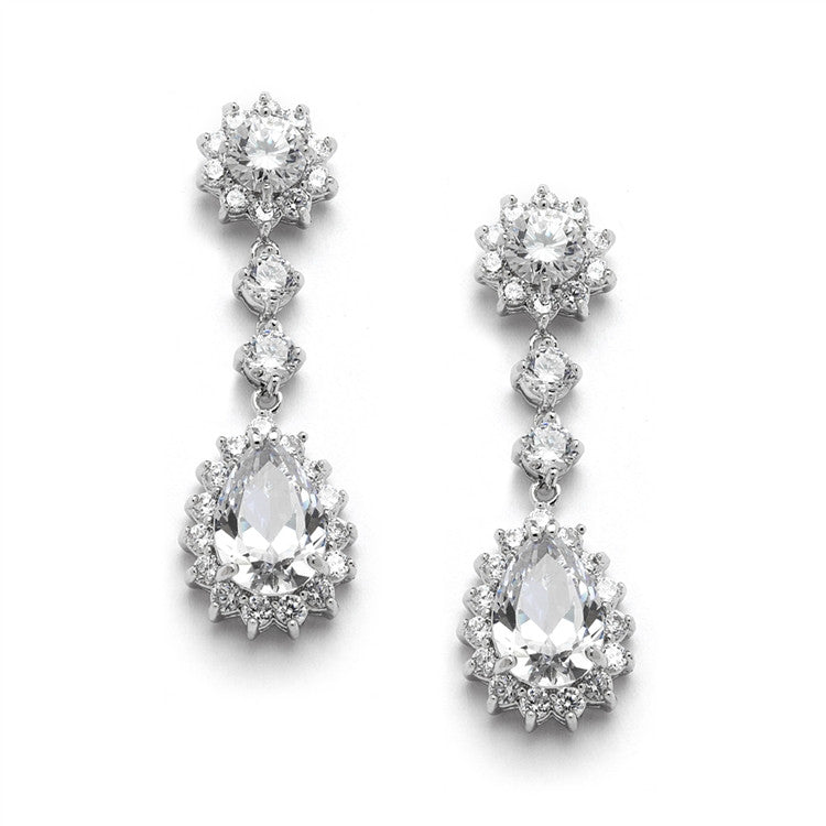 Cubic Zirconia Bridal or Bridesmaids Dangle Earrings with CZ Jeweled Frame 4041E