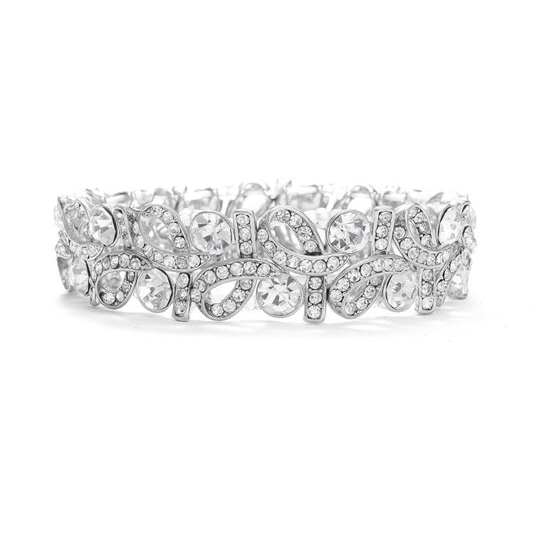Crystal Ribbons Stretch Wedding Bracelet 404B-CR